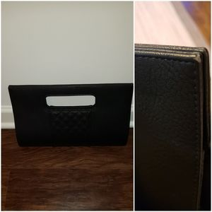 Faux leather black clutch